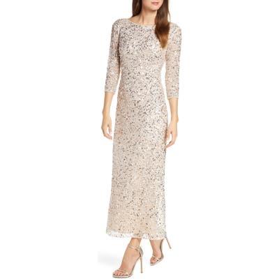 Petite Pisarro Nights Sequin Mesh Gown, Pink