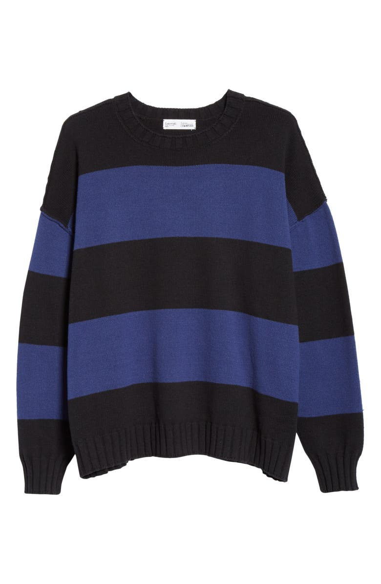 ENTIREWORLD Stripe Recycled Cotton Sweater, Main, color, KURO / INDIGO
