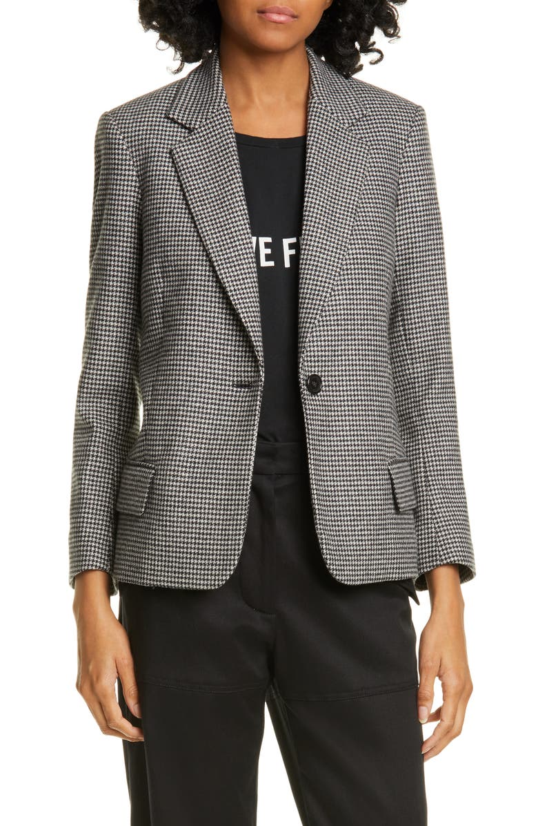 NILI LOTAN Humphrey Wool Blend Jacket, Main, color, BLACK/ IVORY
