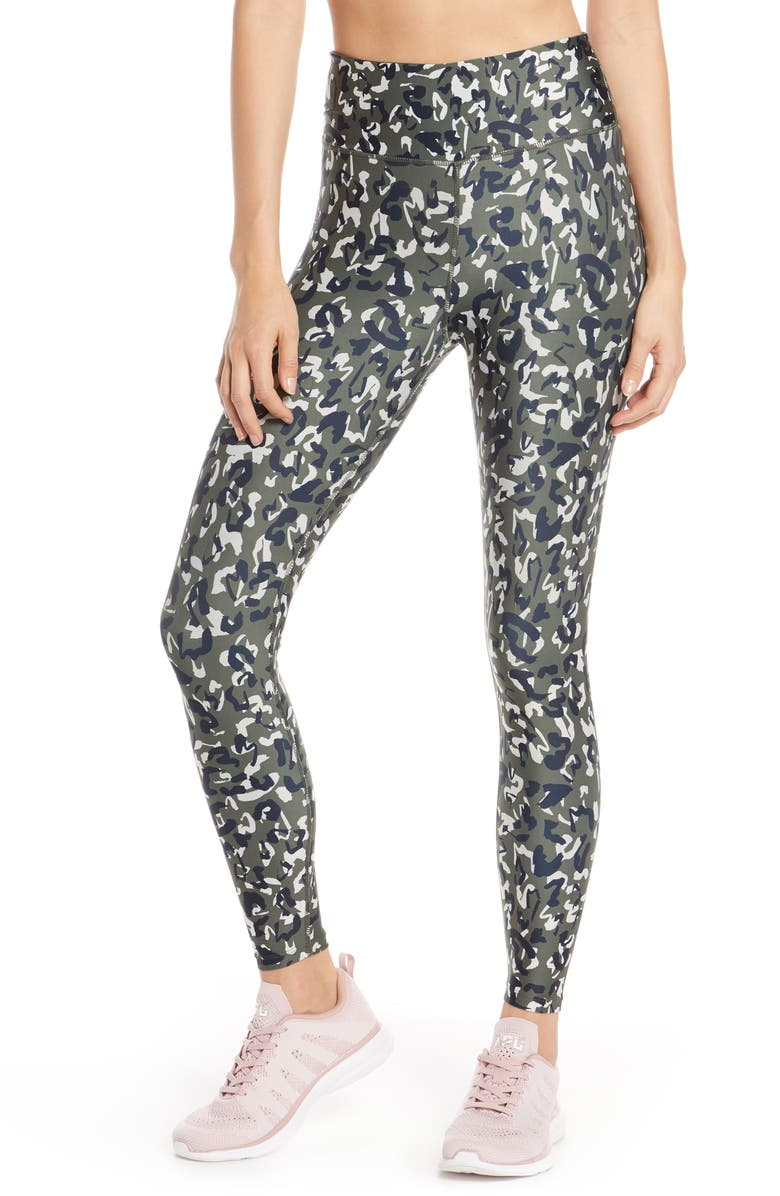SOUL BY SOULCYCLE High Waist Leopard Camo Leggings, Main, color, CAMO