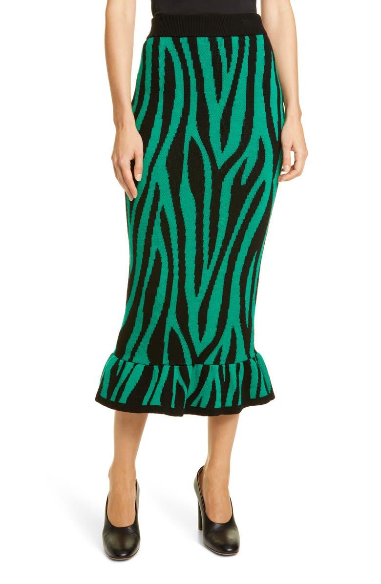 VICTOR GLEMAUD Tiger Stripe Ruffle Wool Midi Skirt, Main, color, GREEN AND BLACK PRINT
