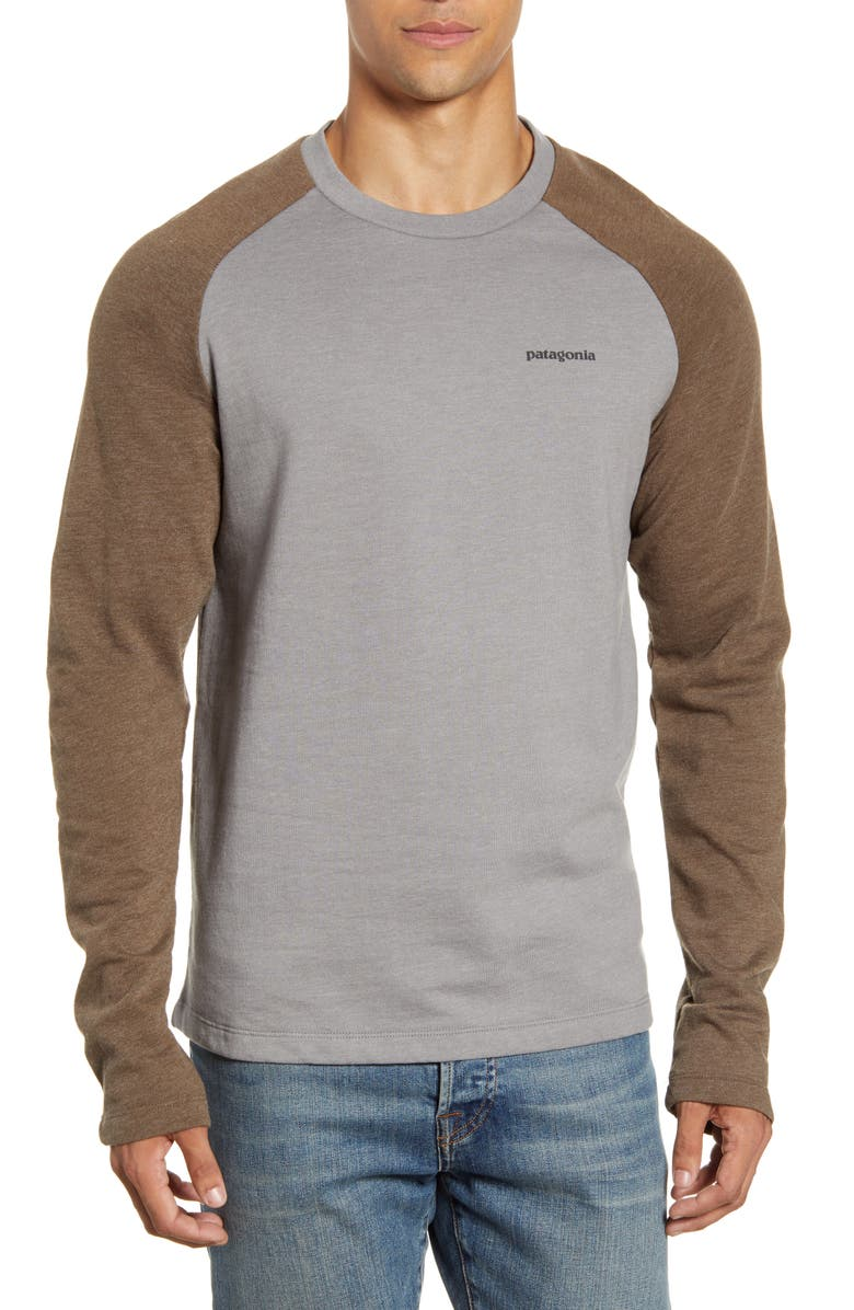PATAGONIA P-6 Logo Regular Fit Lightweight Sweatshirt, Main, color, FEATHER GREY/ BRISTLE BROWN