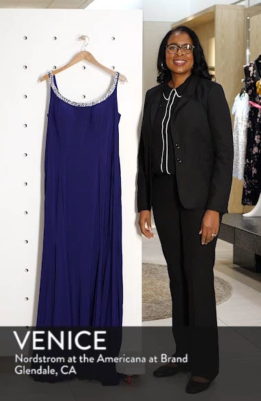 Jeweled Neck Lace-Up Back Jersey Gown, sales video thumbnail