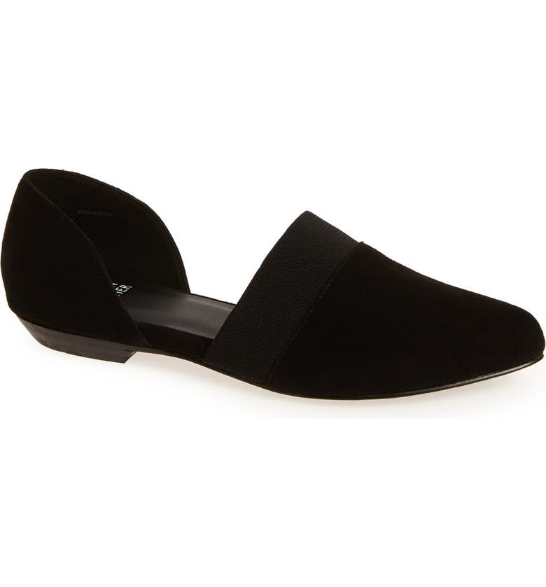 EILEEN FISHER Flute Pointy Toe Flat, Main, color, BLACK SUEDE