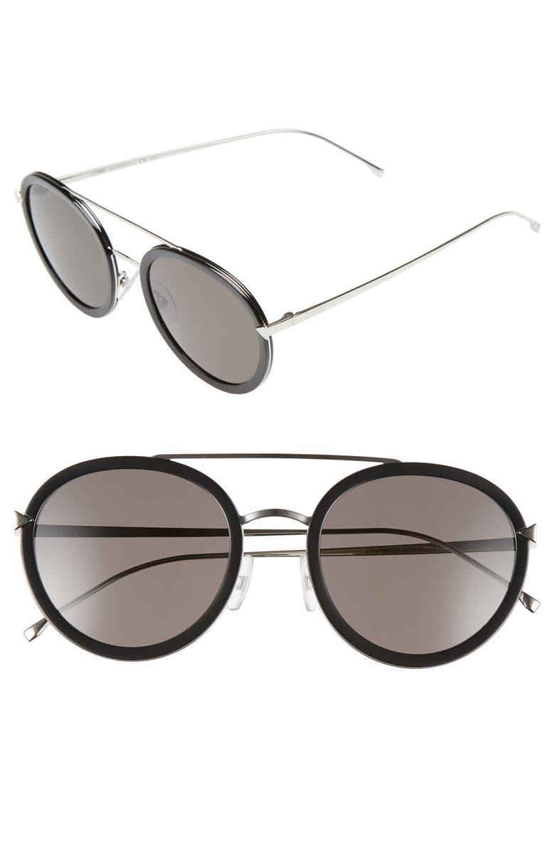 FENDI 51mm Round Aviator Sunglasses, Main, color, 001
