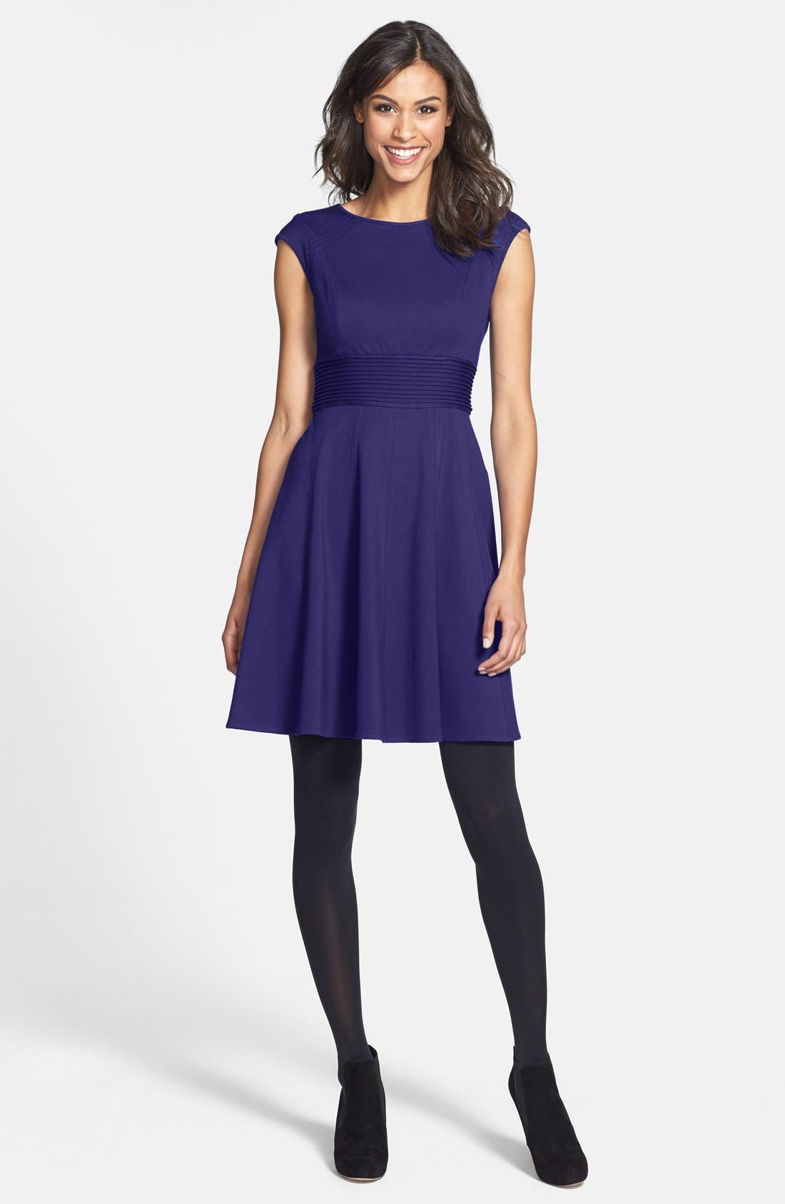 ,                             Pintucked Waist Seamed Ponte Knit Fit & Flare Dress,                             Alternate thumbnail 33, color,                             510