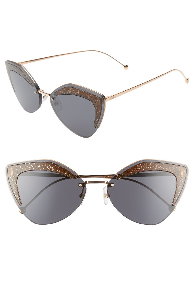 FENDI 66mm Oversize Cat Eye Sunglasses, Main, color, METALLIC GREY