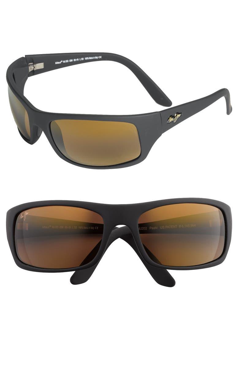 MAUI JIM 'Peahi - PolarizedPlus<sup>®</sup>2' 65mm Sunglasses, Main, color, 002