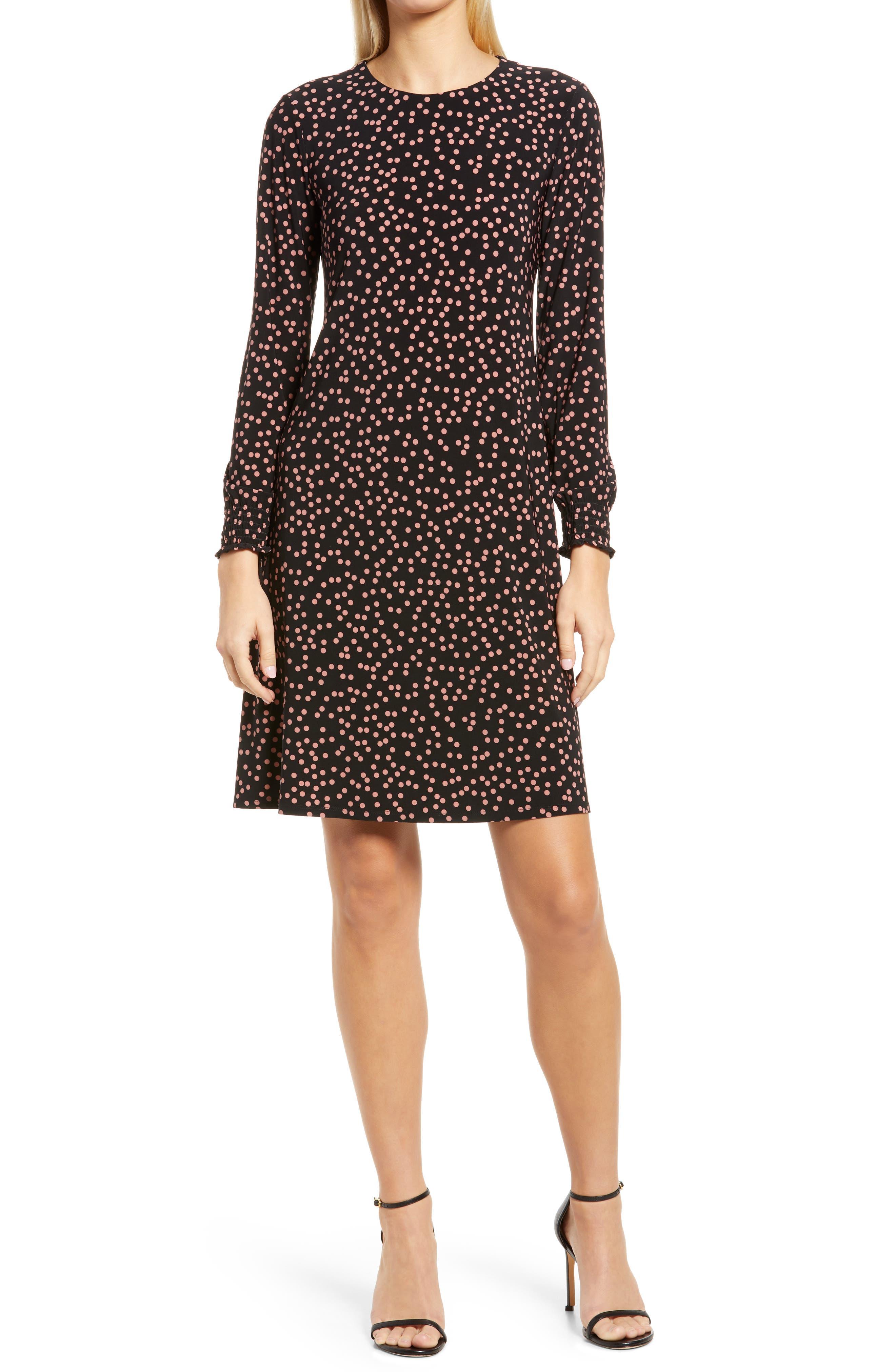 Scattered Dot Long Sleeve Knit Shift Dress