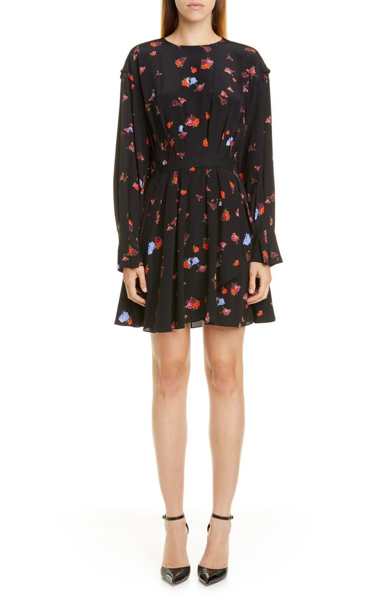 JASON WU Floral Long Sleeve Silk Dress, Main, color, VERMILLION MULTI