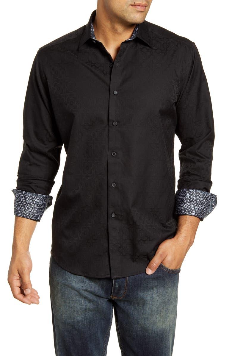 ROBERT GRAHAM Keaton Regular Fit Button-Up Sport Shirt, Main, color, BLACK