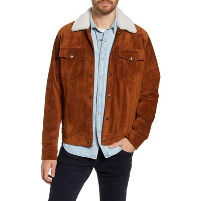 Frame Genuine Shearling Collar Suede Trucker Jacket, Brown