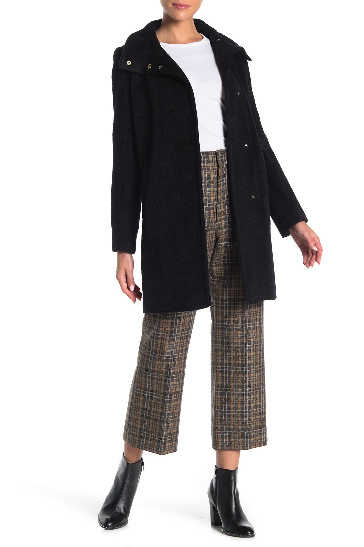 Image of Cole Haan Wool Blend Snap Button Coat