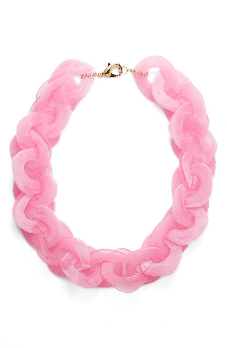 KNOTTY Disc Collar Necklace, Main, color, PINK