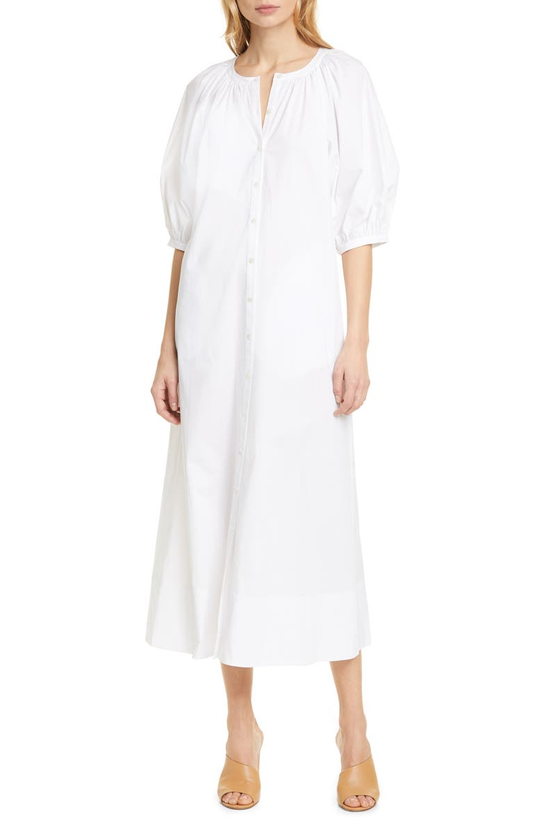 STAUD Vincent Puff Sleeve Maxi Dress, Main, color, WHITE