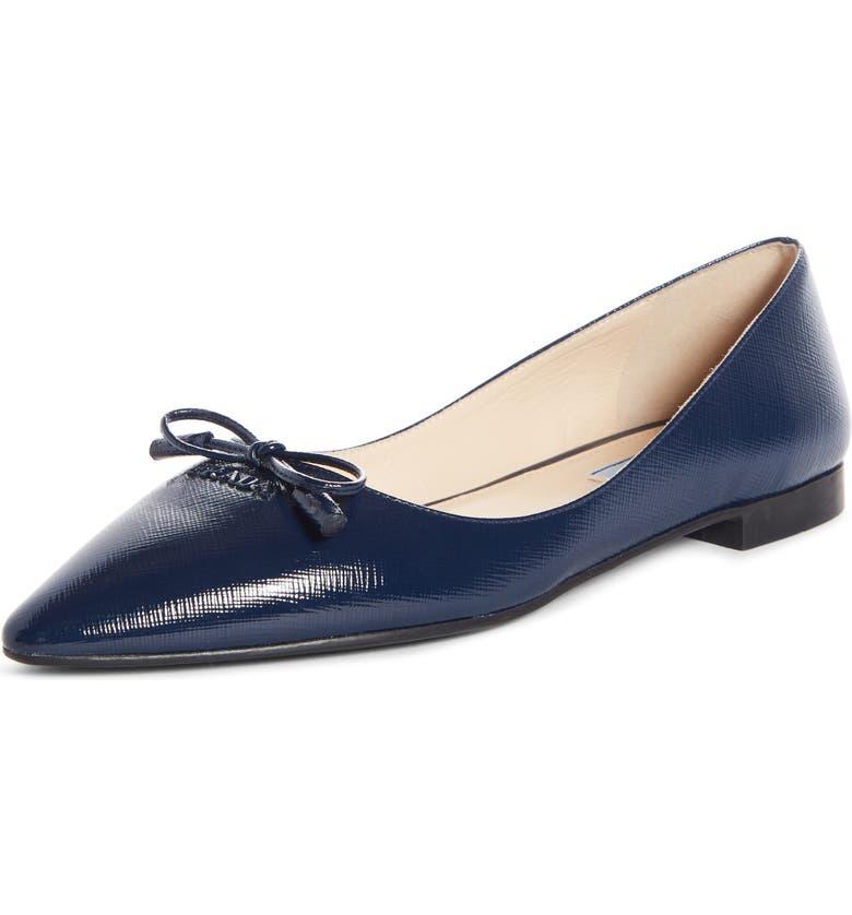 PRADA Bow Logo Pointy Toe Flat, Main, color, BLUE