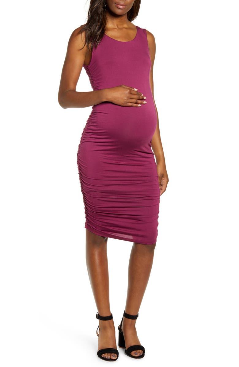 ANGEL MATERNITY Sleeveless Body-Con Maternity Dress, Main, color, MAROON RED