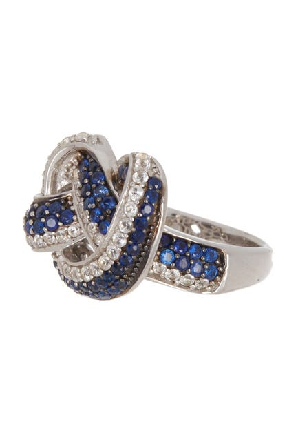 Image of Suzy Levian Sterling Silver Sapphire Twist Ring