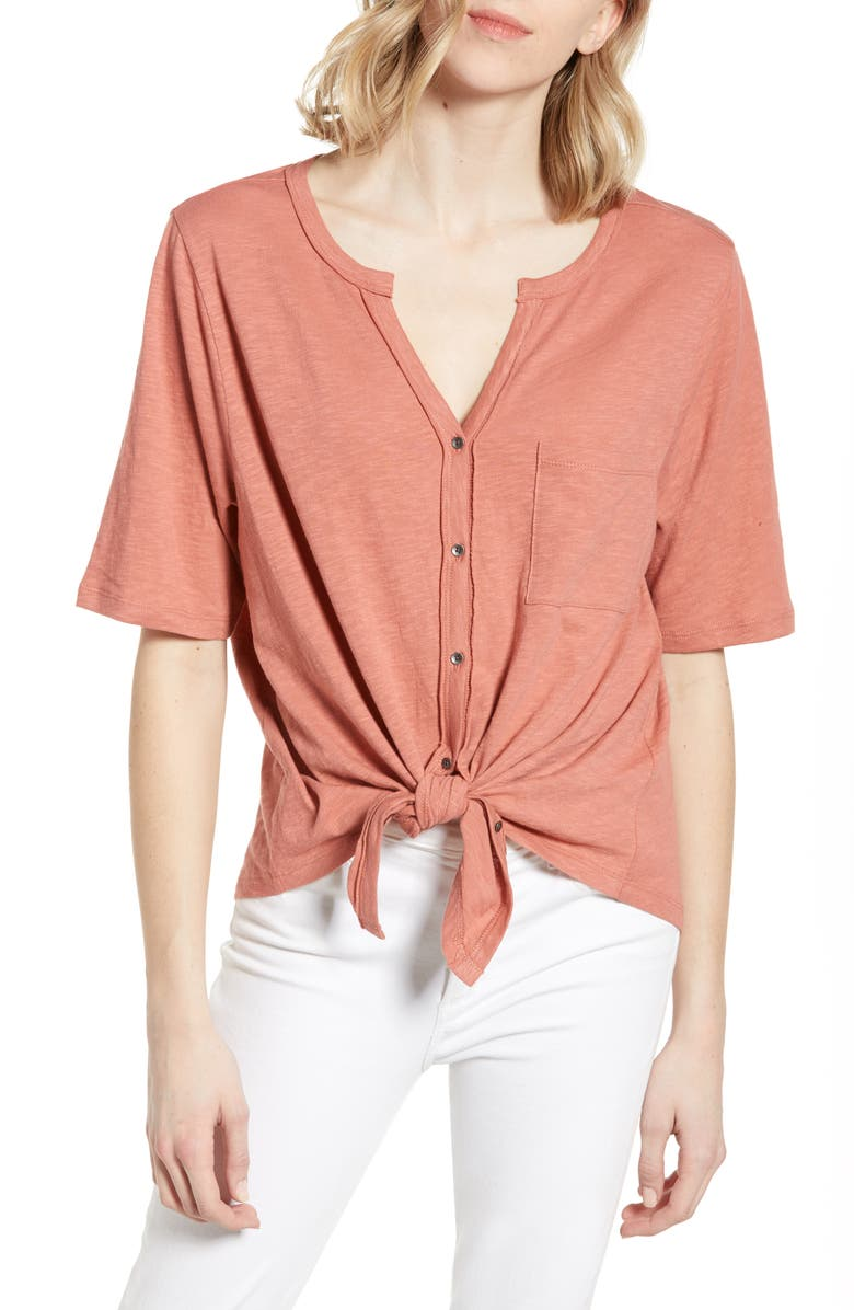 CASLON<SUP>®</SUP> Tie Front Tee, Main, color, PINK CANYON