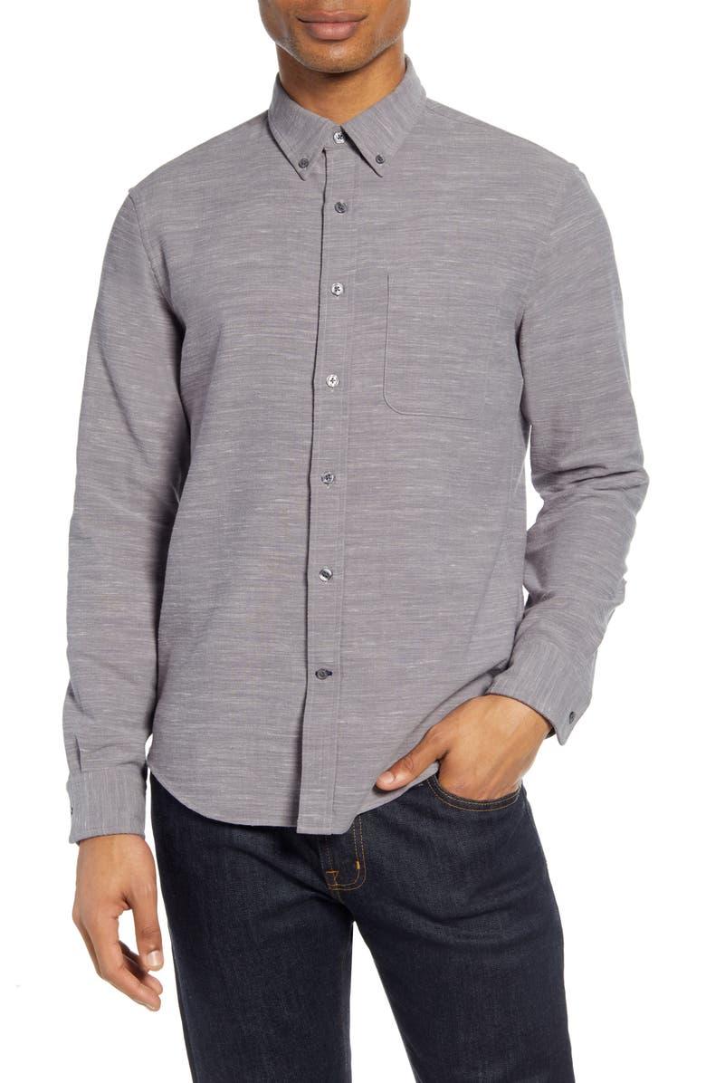 CLUB MONACO Slim Fit Mélange Flannel Button-Down Shirt, Main, color, GREY