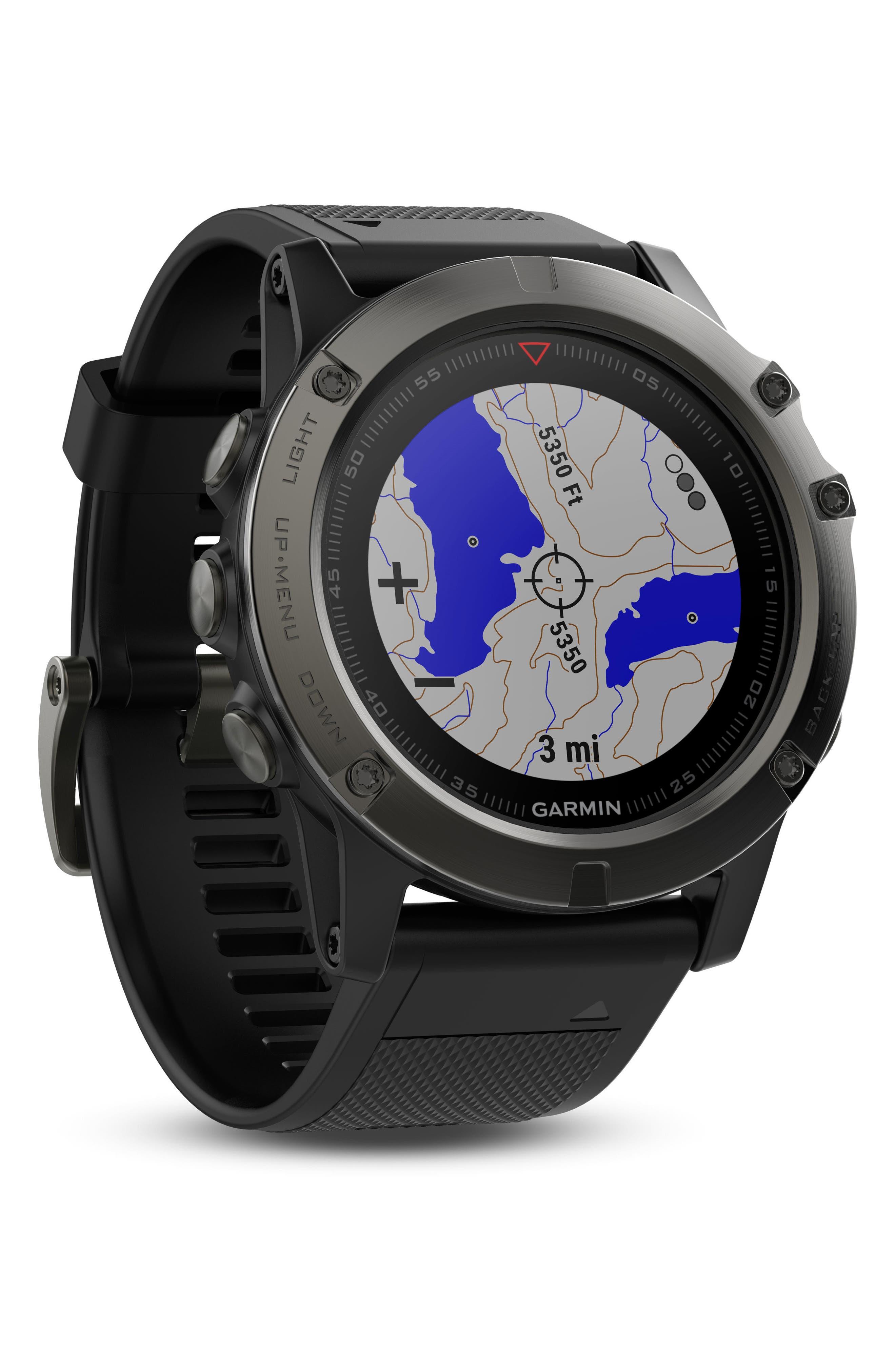 ,                             fenix<sup>®</sup> 5X Sapphire Premium Multisport GPS Watch, 51mm,                             Alternate thumbnail 6, color,                             BLACK/ SLATE GRAY SAPPHIRE