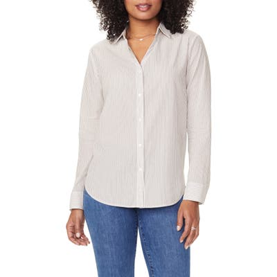 Nydj Classic Button-Up Stripe Shirt, Ivory