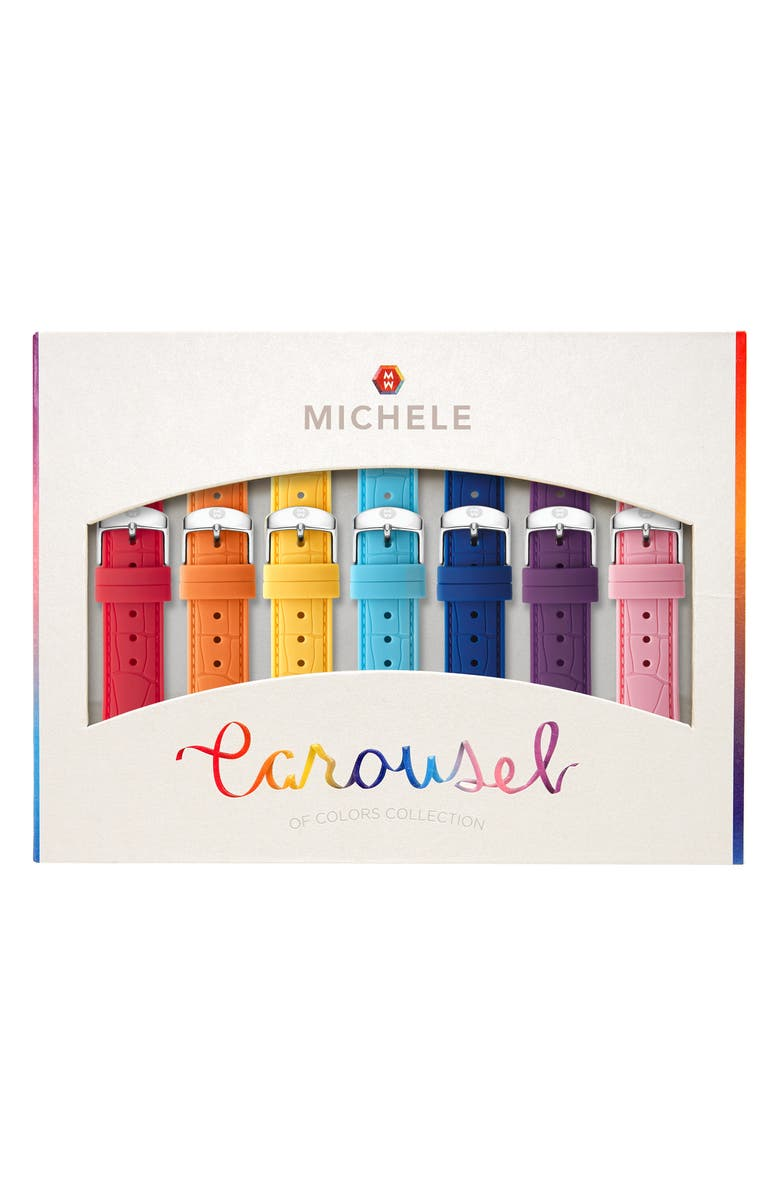 MICHELE Carousel 7-Pack 18mm Silicone Watch Strap Gift Set, Main, color, MULTI COLOR
