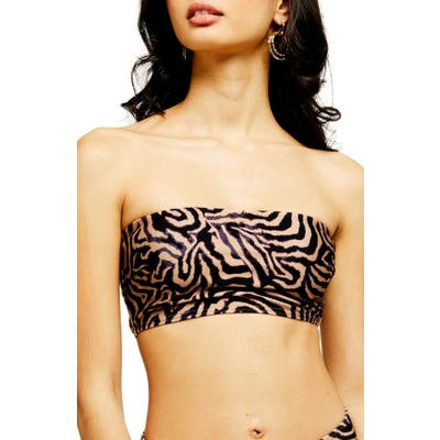 Topshop Tiger Print Bandeau Bikini Top, US (fits like 2-4) - Black
