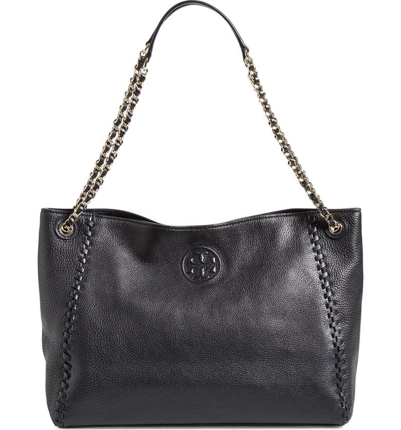 TORY BURCH 'Marion' Slouchy Shoulder Tote, Main, color, 001