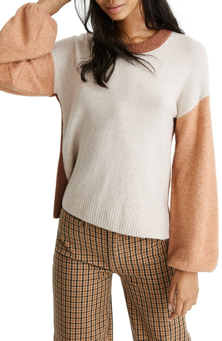 MADEWELL Payton Coziest Yarn Colorblock Pullover, Main, color, HEATHER LINEN