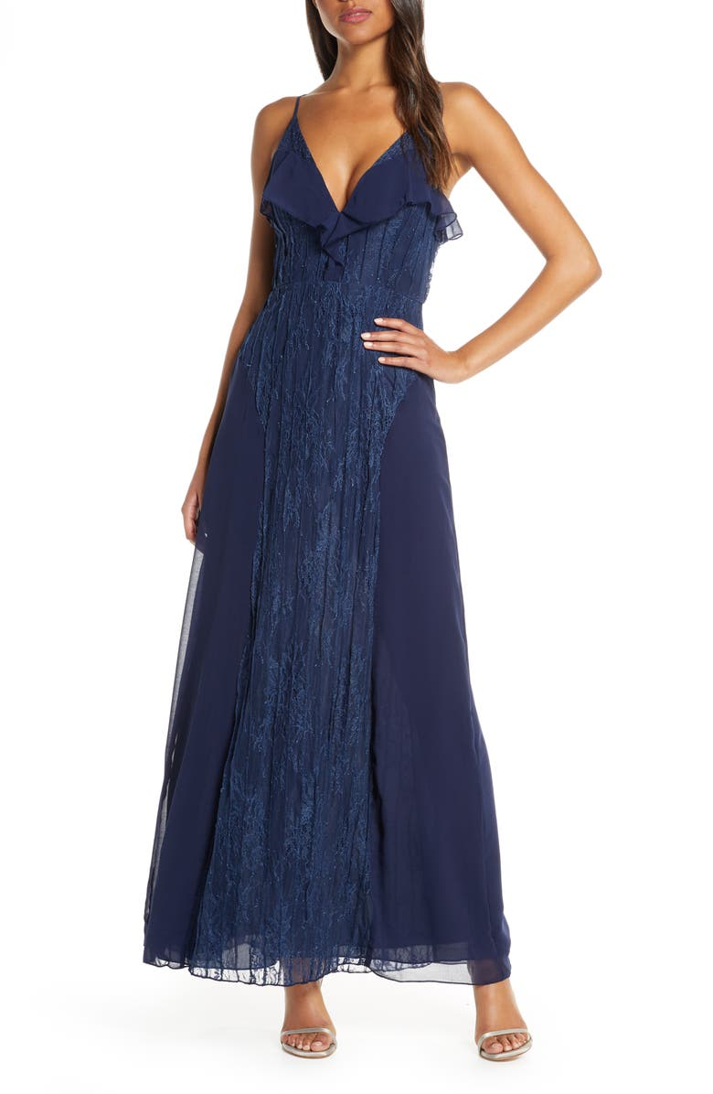 FOXIEDOX Pintuck Lace & Chiffon Evening Gown, Main, color, NAVY