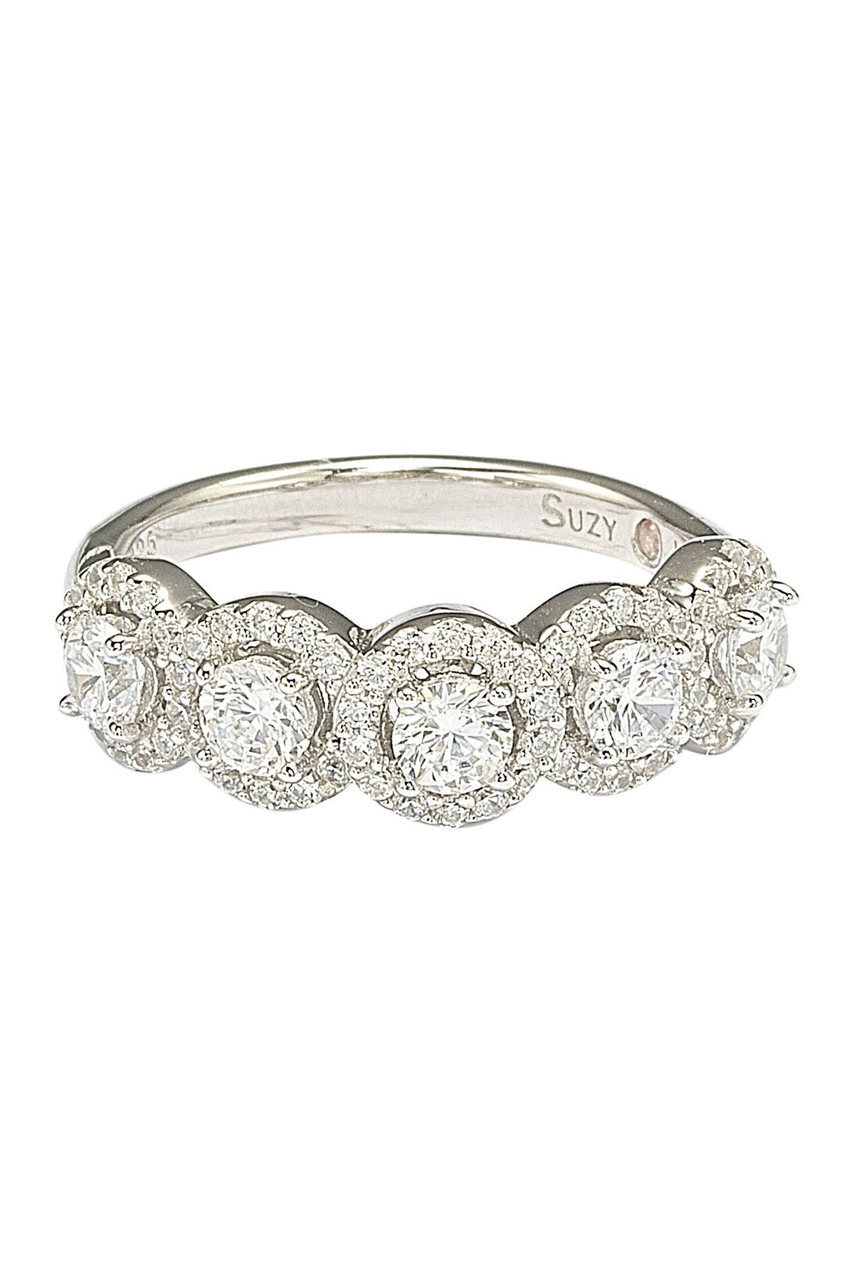 Image of Suzy Levian Sterling Silver Round-Cut CZ Halo Ring