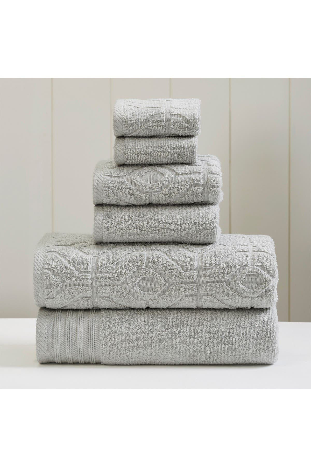 Image of Modern Threads Yarn Dyed Diamond Gate 6-Piece Towel Set - Silver