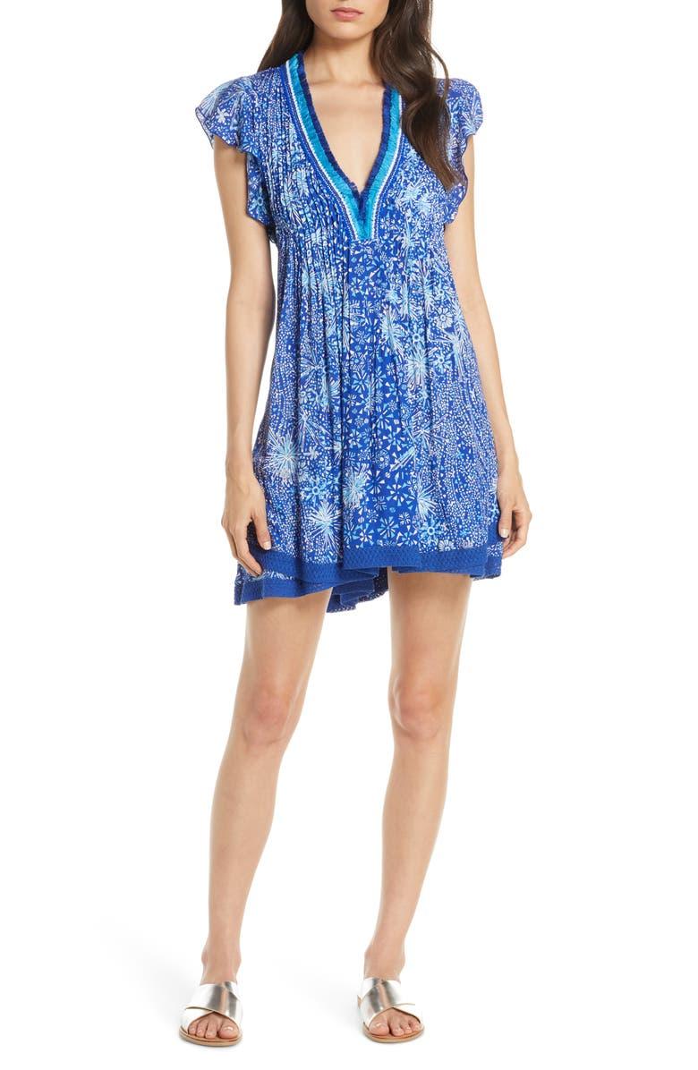 POUPETTE ST BARTH Poupette St. Barth Sasha Cover-Up Minidress, Main, color, BLUE GEO BATIK VERTICAL