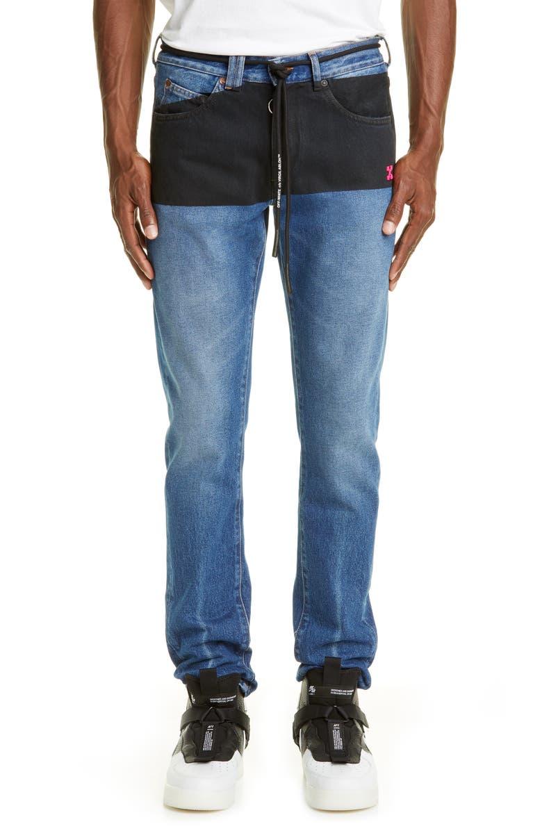 OFF-WHITE Slim Fit Jeans, Main, color, DARK BLUE FUCHSIA