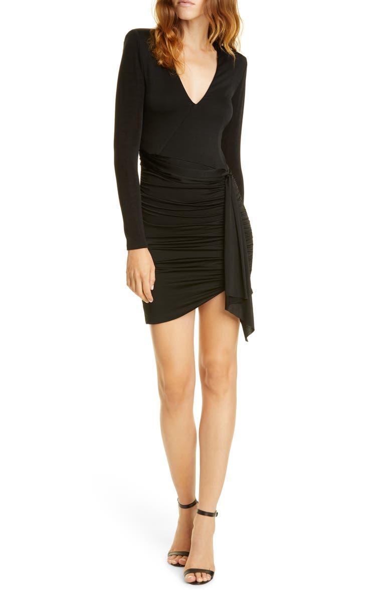 ALICE + OLIVIA Kyra Long Sleeve Minidress, Main, color, BLACK