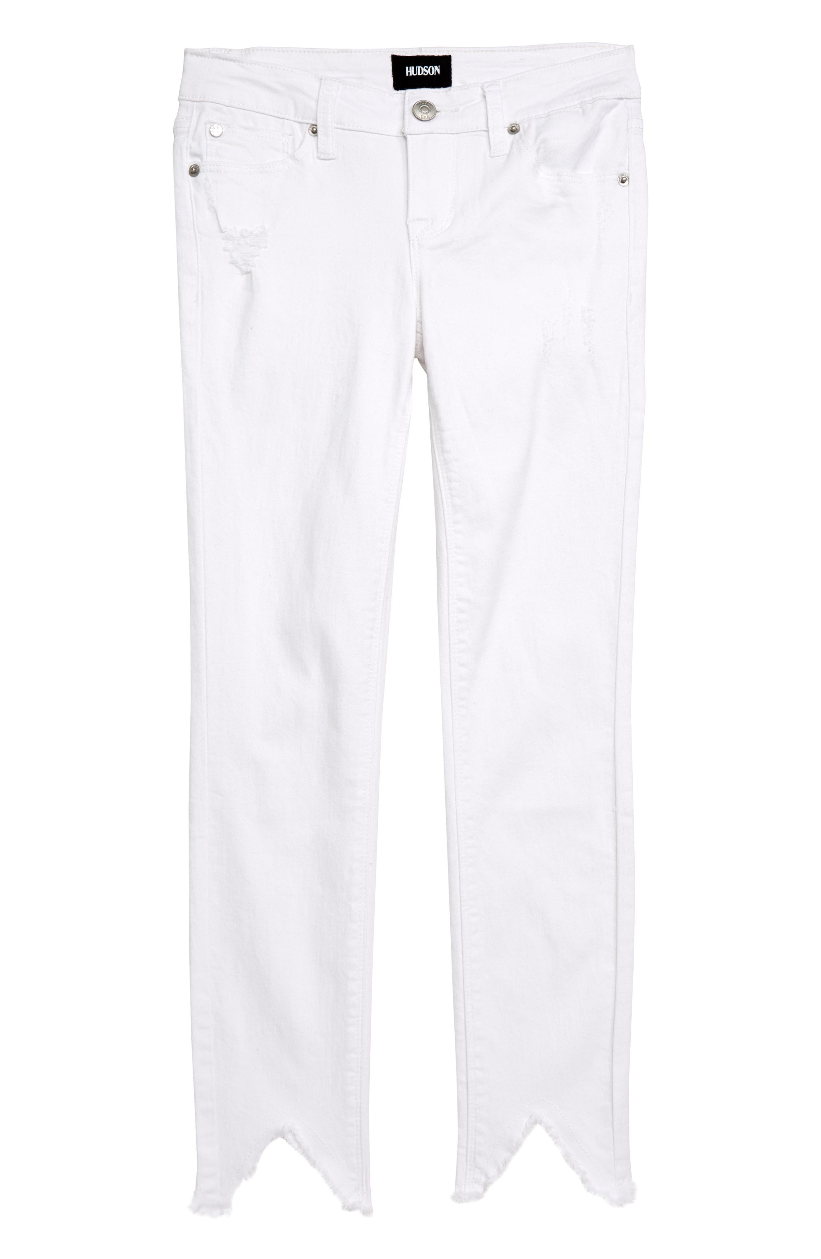 Hudson Girls 23 Notched Hem Skinny Jeans, Main, color, VWW-VINTAGE WHITE WASH