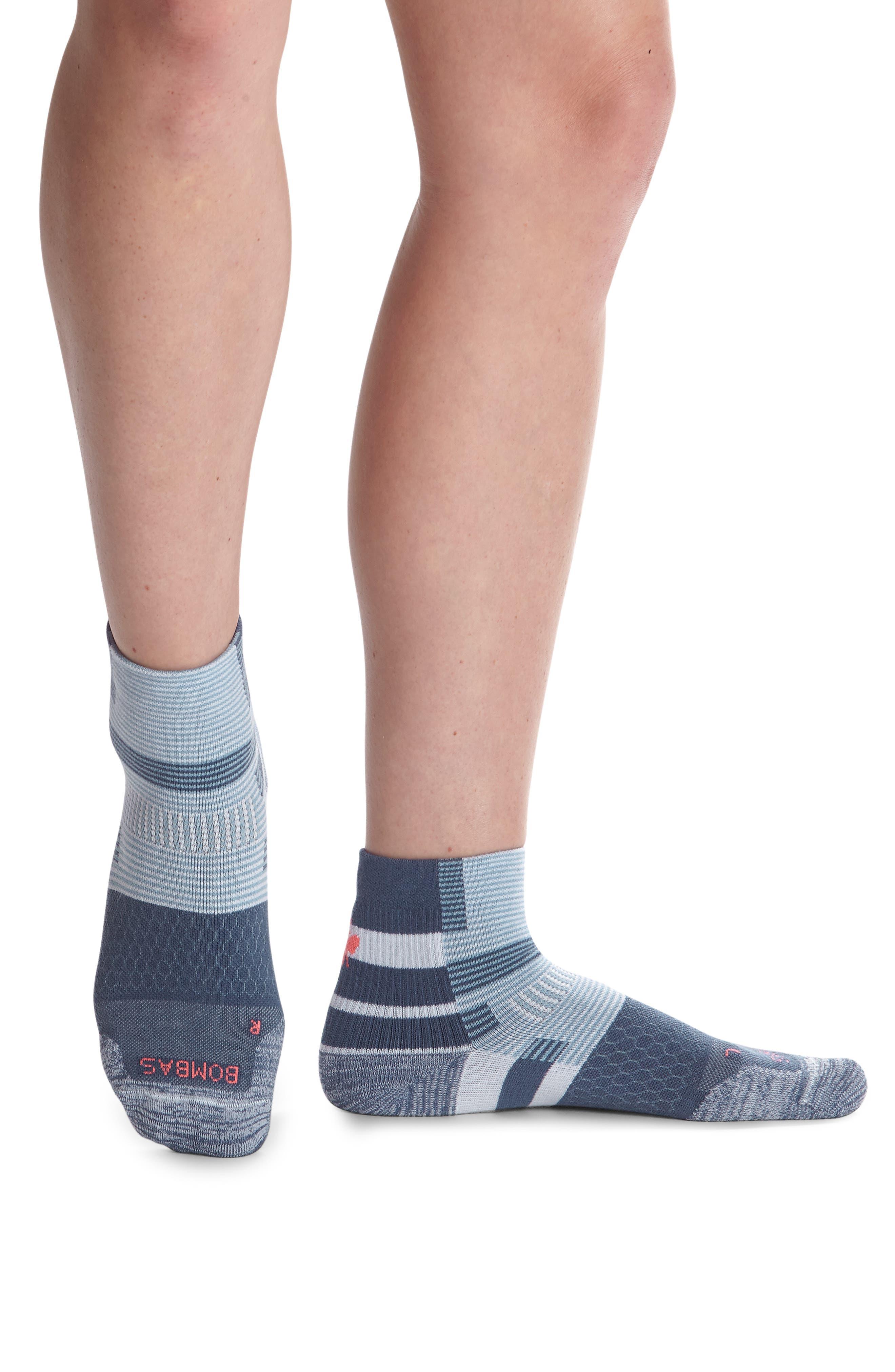 Layered Multistripe Running Quarter Socks
