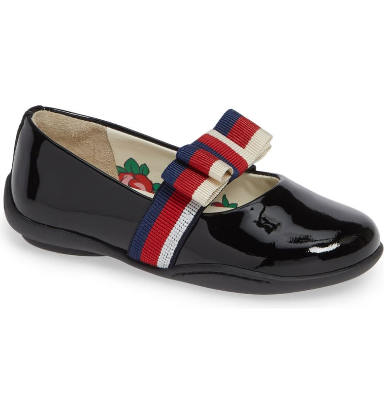 GUCCI Matilda Ballet Flat with Sylvie Bow, Main, color, BLACK