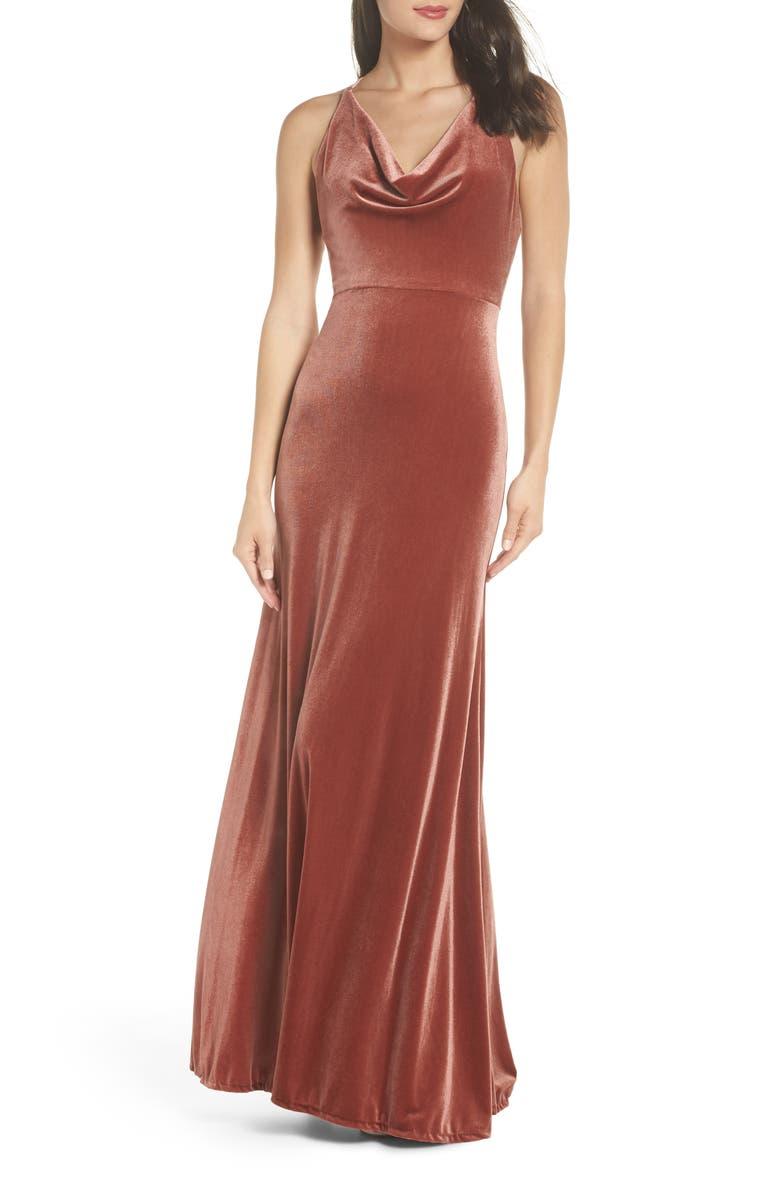 JENNY YOO Sullivan Velvet Cowl Neck Gown, Main, color, 600