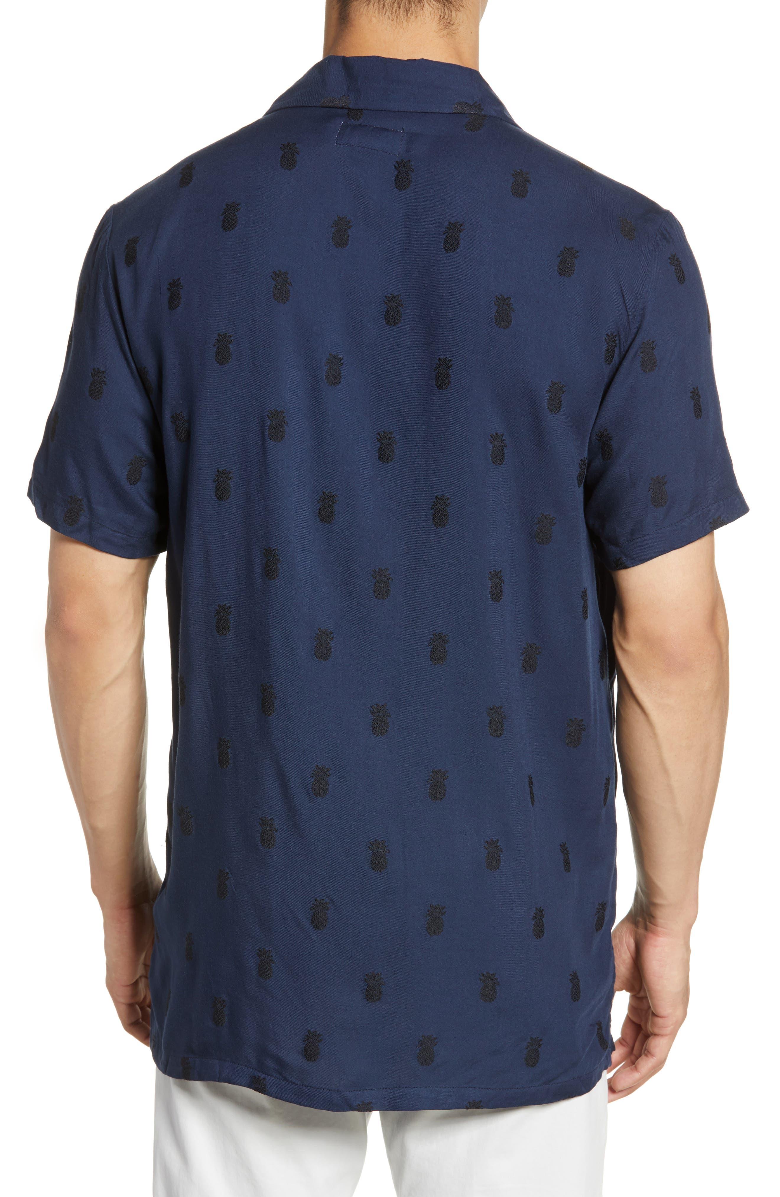 ,                             Pineapple Vacation Shirt,                             Alternate thumbnail 3, color,                             DEEP NAVY
