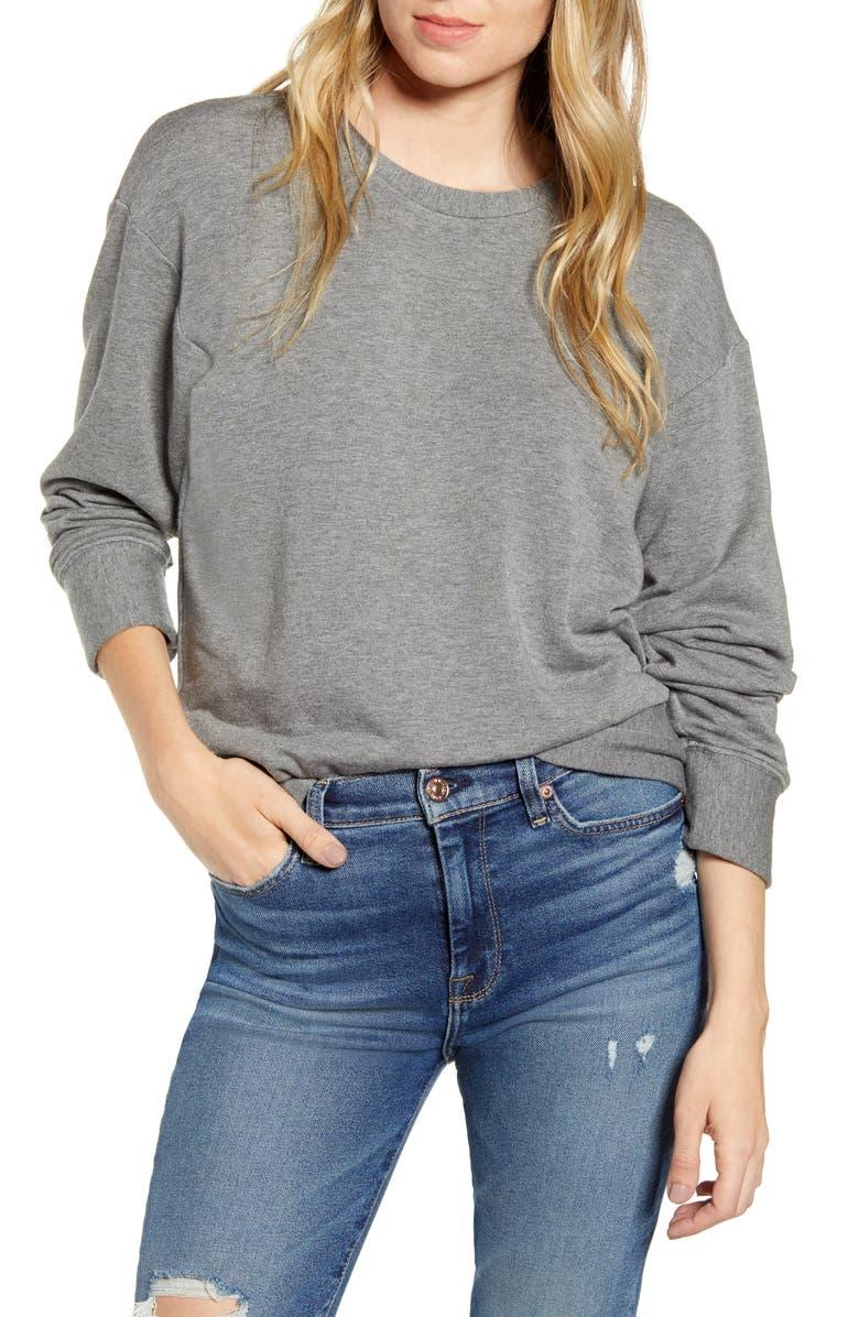 STATESIDE Fleece Crewneck Pullover, Main, color, HEATHER GREY