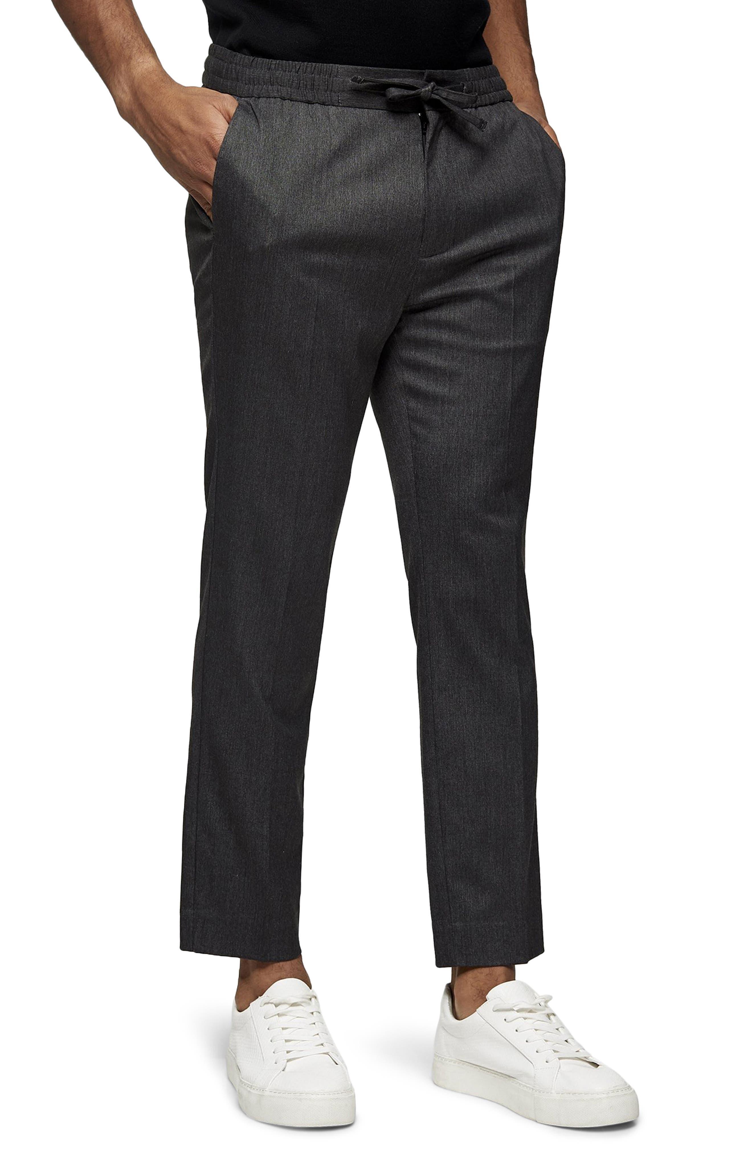 Men's Topman Crop Drawstring Pants,  34 x 34 - Grey