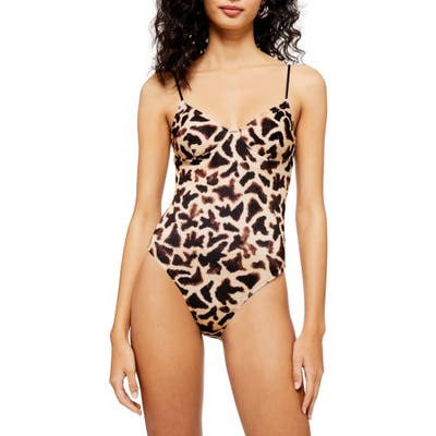 Topshop Giraffe Print Ribbed One-Piece Swimsuit, US (fits like 0) - Beige