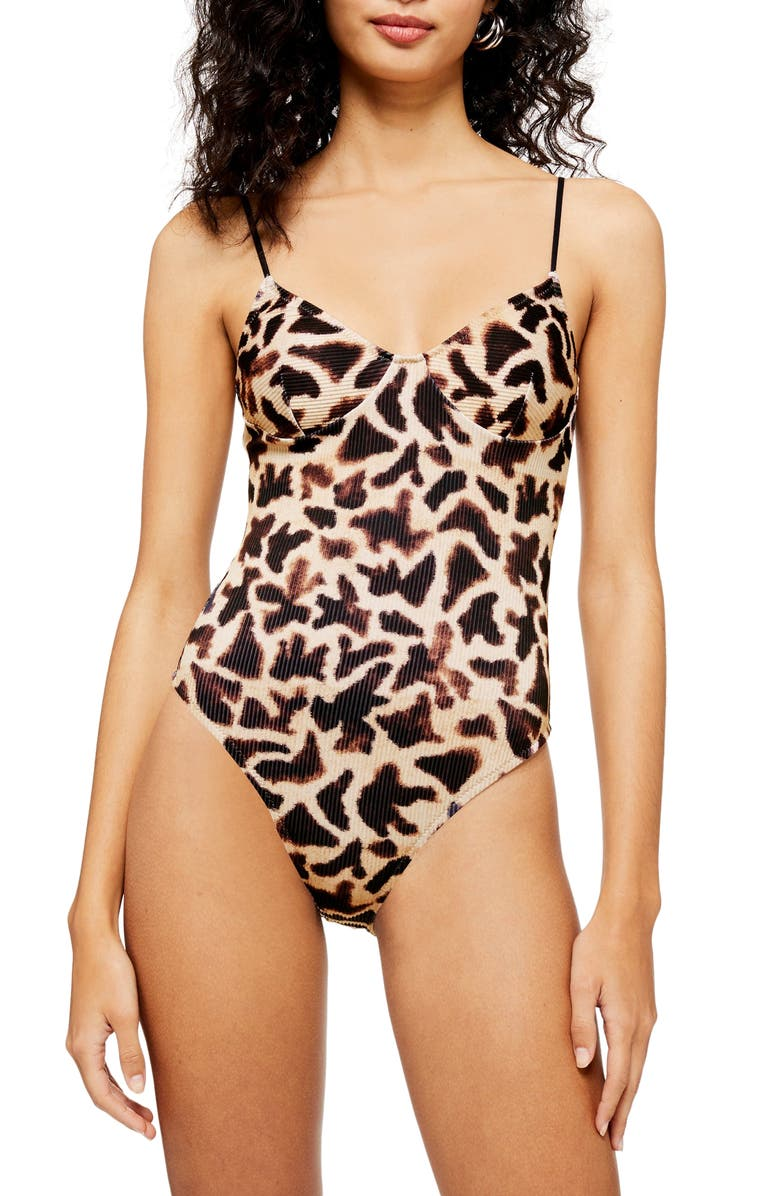 TOPSHOP Giraffe Print Ribbed One-Piece Swimsuit, Main, color, NUDE MULTI