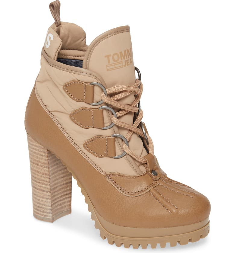 TOMMY JEANS Clarissa Lace-Up Bootie, Main, color, TIGER EYE