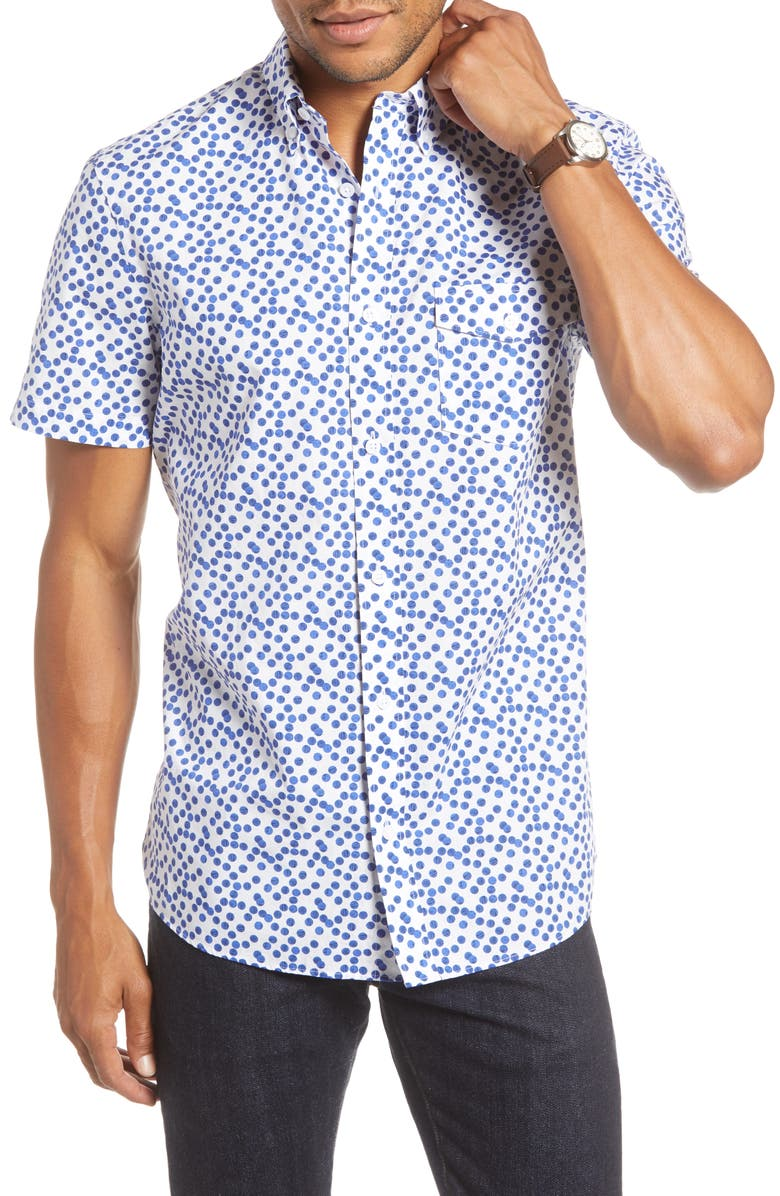1901 Trim Fit Dot Print Short Sleeve Button-Down Sport Shirt, Main, color, 100