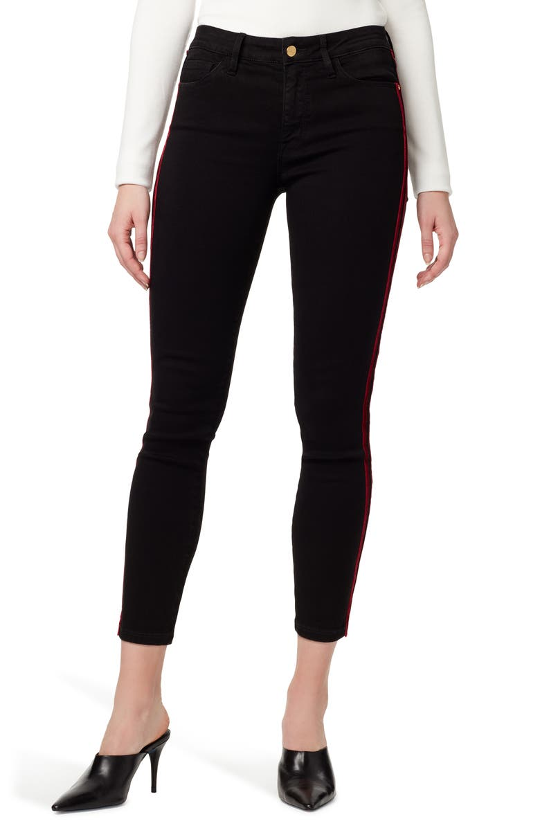 SANCTUARY Social Standard Side Stripe Ankle Skinny Jeans, Main, color, EYELINER RICH BLACK
