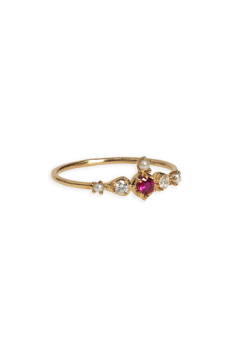 SOFIA ZAKIA Shalimar Ruby, Diamond & Freshwater Pearl Ring, Main, color, GOLD