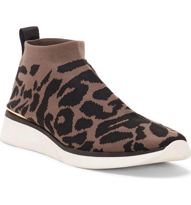 LOUISE ET CIE Breyson Knit Sneaker, Main, color, GREY LEOPARD PRINT FABRIC